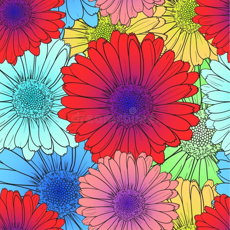 Modello senza cuciture di vettore: Fiori colorati luminosi, rosso, fioriture blu del fiore illustrazione vettoriale