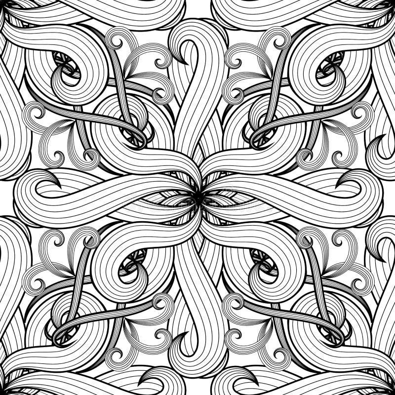 Modello senza cuciture di vettore floreale in bianco e nero complesso Monoch illustrazione vettoriale