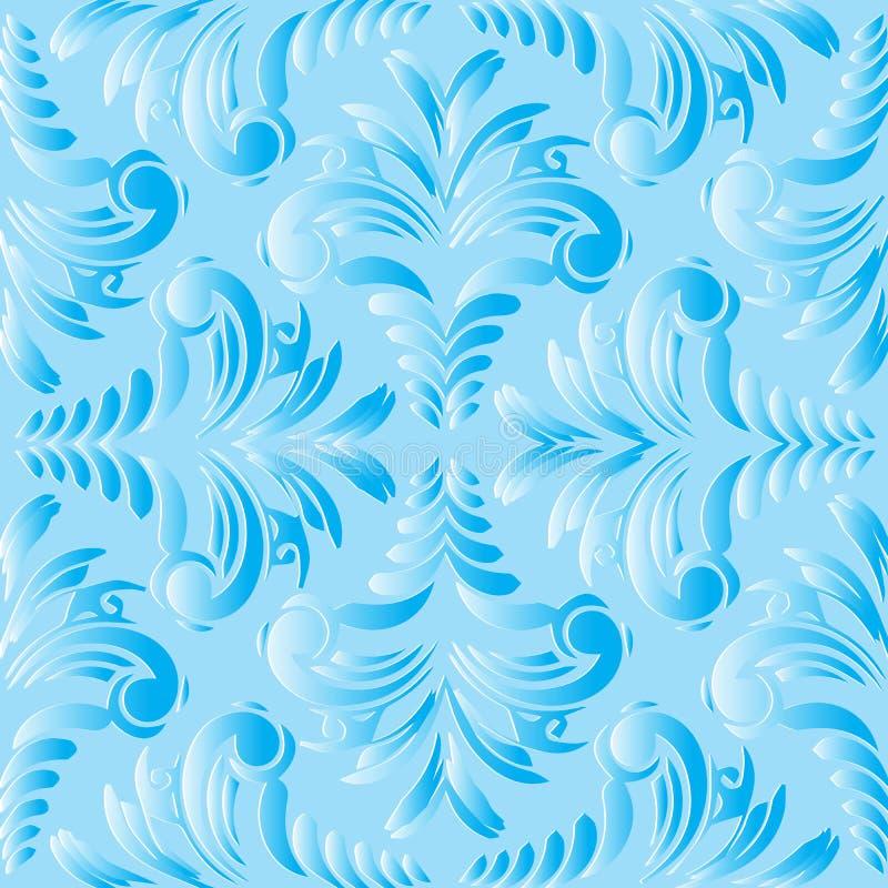 Modello senza cuciture di vettore floreale d'annata blu-chiaro Ornam fiorito illustrazione di stock