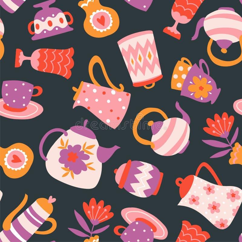 Modello senza cuciture di vettore floreale del tè Teiere, tazze e fiori isolati sui precedenti scuri illustrazione vettoriale