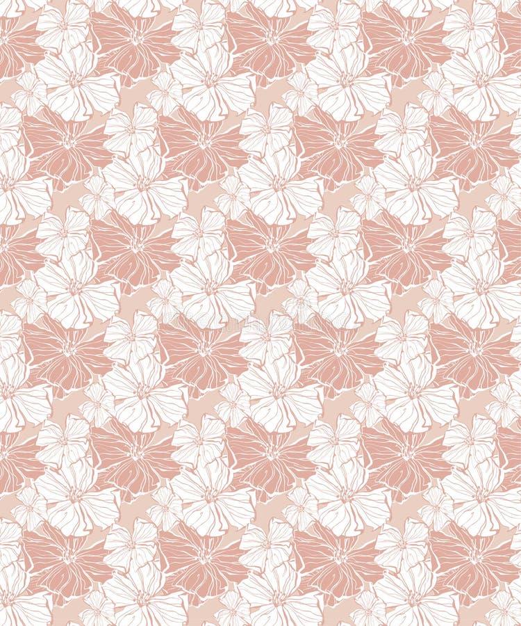 Modello senza cuciture di vettore floreale tropicale nei toni rosa pastelli royalty illustrazione gratis