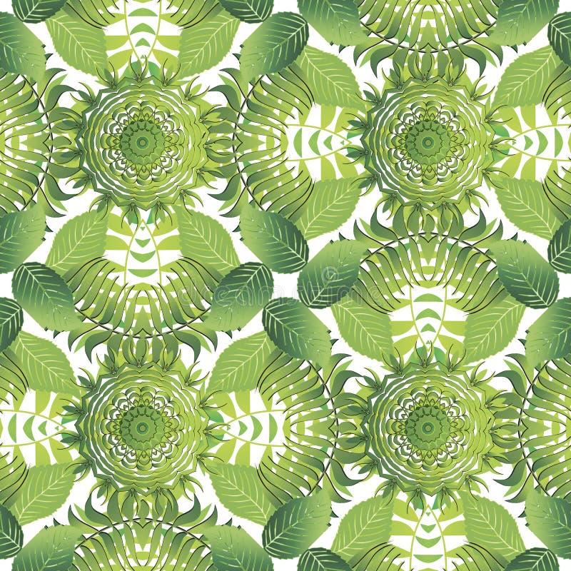 Modello senza cuciture di vettore frondoso tropicale Foglie di palma e rami verdi su fondo bianco Natura ornamentale di ripetizio royalty illustrazione gratis