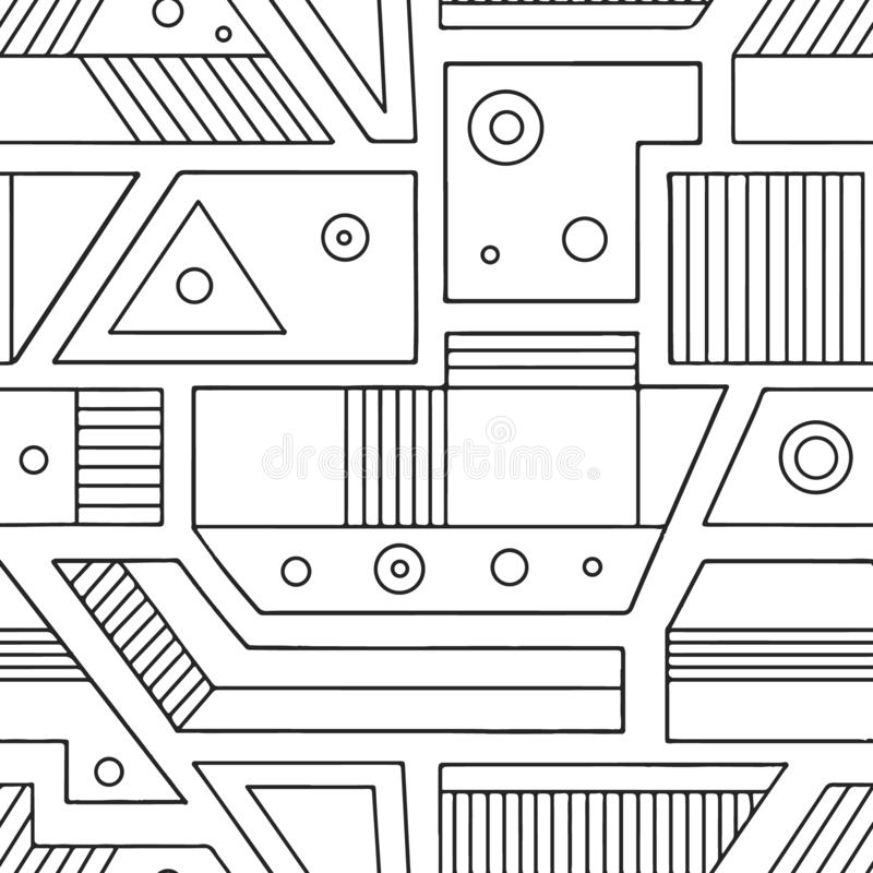 Modello senza cuciture di vettore geometrico con differenti forme geometriche Quadrato, triangolo, rettangolo, punti, cerchi Desi royalty illustrazione gratis