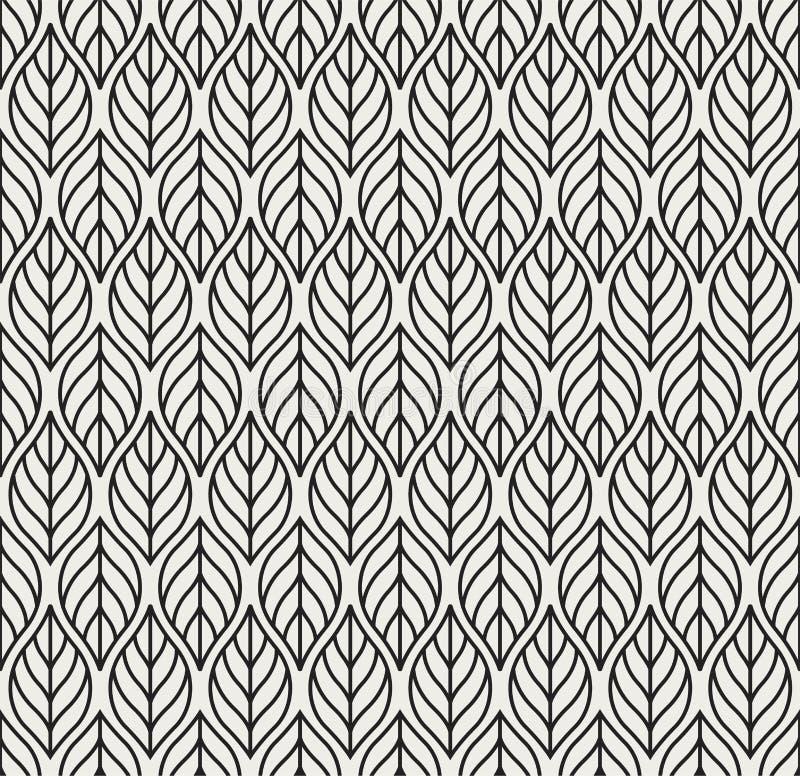 Modello senza cuciture di vettore geometrico delle foglie Struttura astratta di vettore Fondo della foglia illustrazione vettoriale