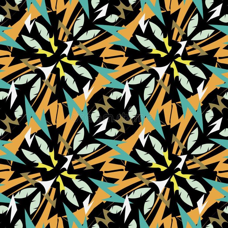 Modello senza cuciture di vettore geometrico etnico tribale azteco di stile Progettazione ornamentale di zigzag su fondo nero Rip royalty illustrazione gratis