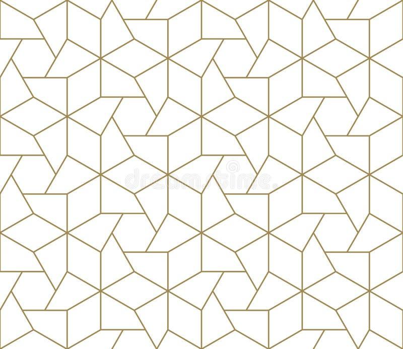 Modello senza cuciture di vettore geometrico semplice moderno con la linea struttura dell'oro su fondo bianco Carta da parati ast fotografie stock
