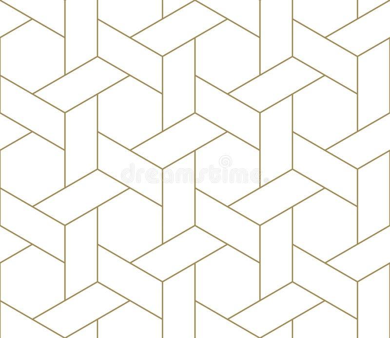 Modello senza cuciture di vettore geometrico semplice moderno con la linea struttura dell'oro su fondo bianco Carta da parati ast immagini stock