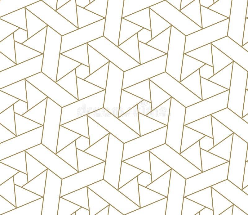 Modello senza cuciture di vettore geometrico semplice moderno con la linea struttura dell'oro su fondo bianco Carta da parati ast immagine stock