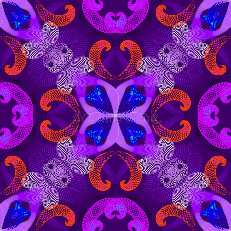 Modello senza cuciture di vettore geometrico variopinto di spirali Fondo floreale di fantasia di frattali con effetto illuminato  illustrazione di stock