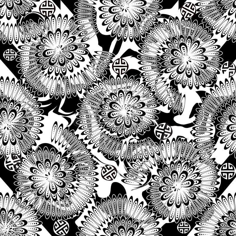 Modello senza cuciture di vettore greco in bianco e nero floreale dell'estratto La spirale monocromatica ornamentale ha modellato royalty illustrazione gratis