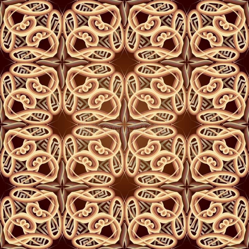 Modello senza cuciture di vettore greco d'annata arabo ornamentale di stile Fondo variopinto complesso di arabesque Linee barrate illustrazione vettoriale