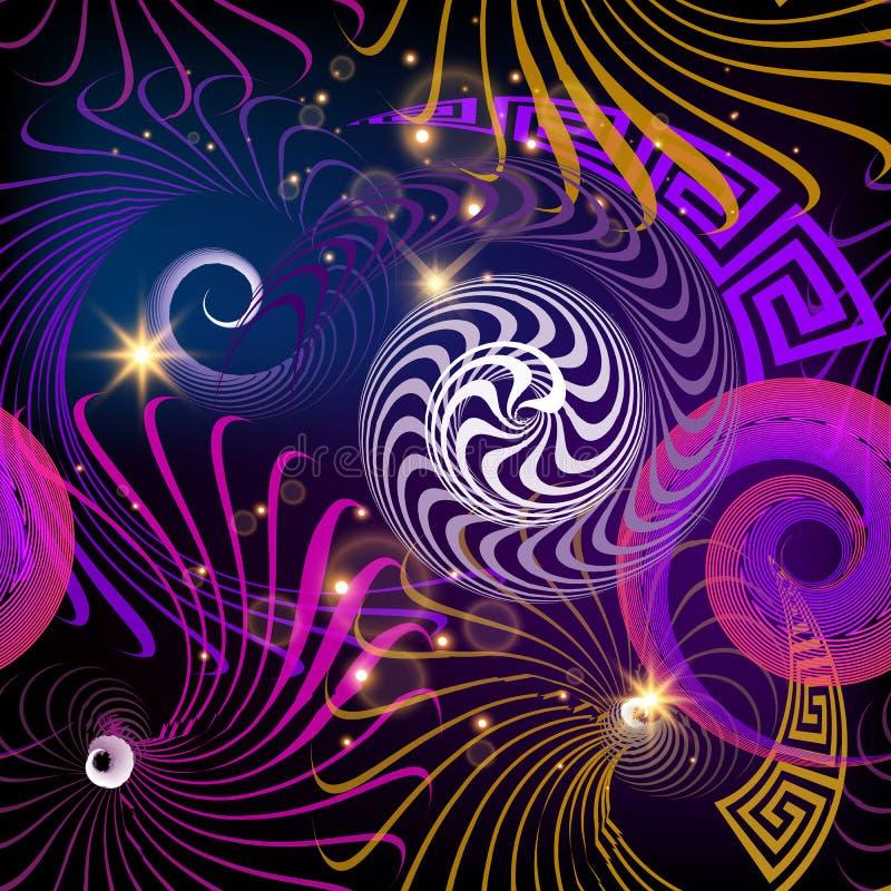 Modello senza cuciture di vettore greco geometrico di fantasia Fondo d'ardore variopinto dell'estratto moderno Forme a spirale, l illustrazione di stock