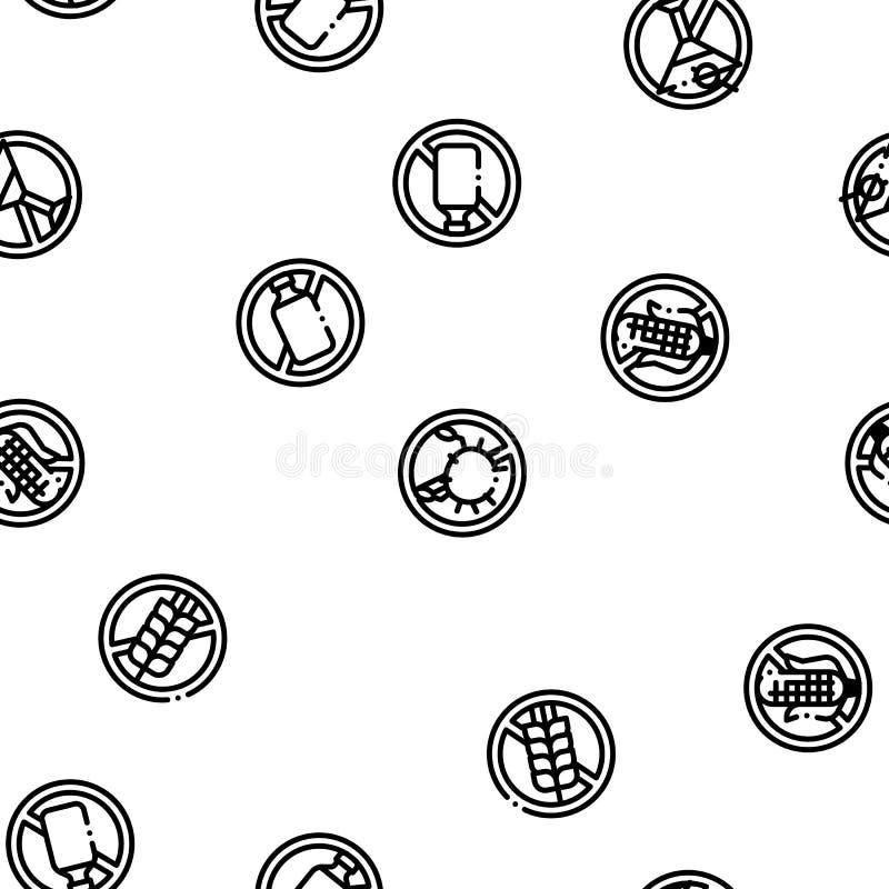 Modello senza cuciture di vettore libero dei prodotti dell'allergene illustrazione vettoriale