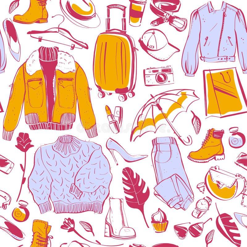 Modello senza cuciture di vettore per il tema di compera di modo e di autunno & di inverno con le donne accessorie & l'abbigliame illustrazione vettoriale