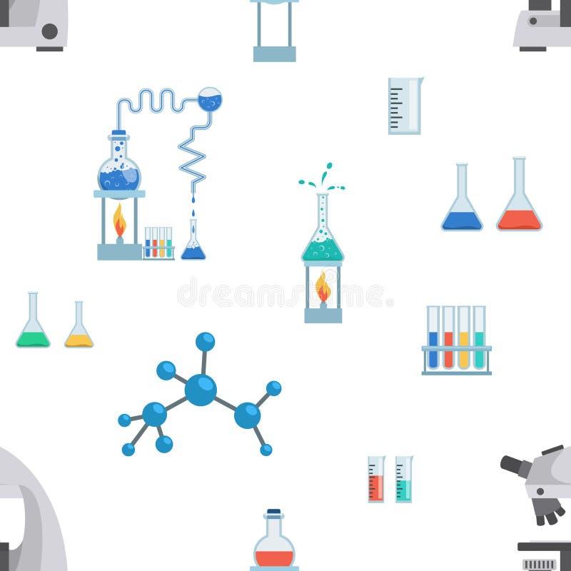 Modello senza cuciture di vettore piano dell'attrezzatura di laboratorio Provette, becher di chimica, tazze di misurazione Micros royalty illustrazione gratis