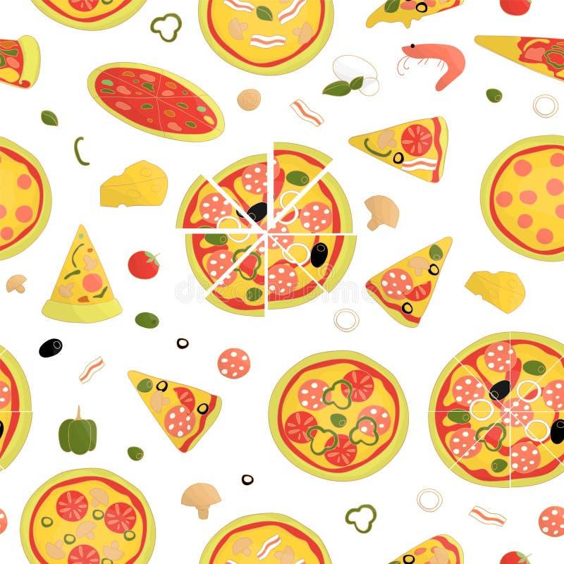 Modello senza cuciture di vettore di pizza colorata illustrazione vettoriale