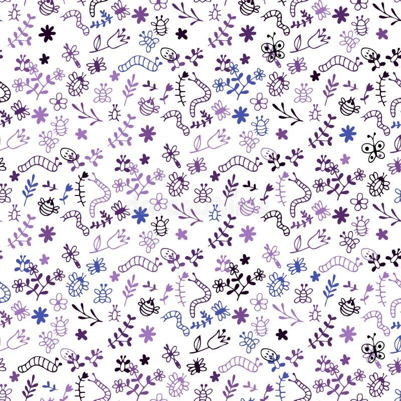 Modello senza cuciture di vettore di scarabocchio: insetti, ragni, farfalle, libellula, ape, trattore a cingoli, erba, fiori illustrazione di stock