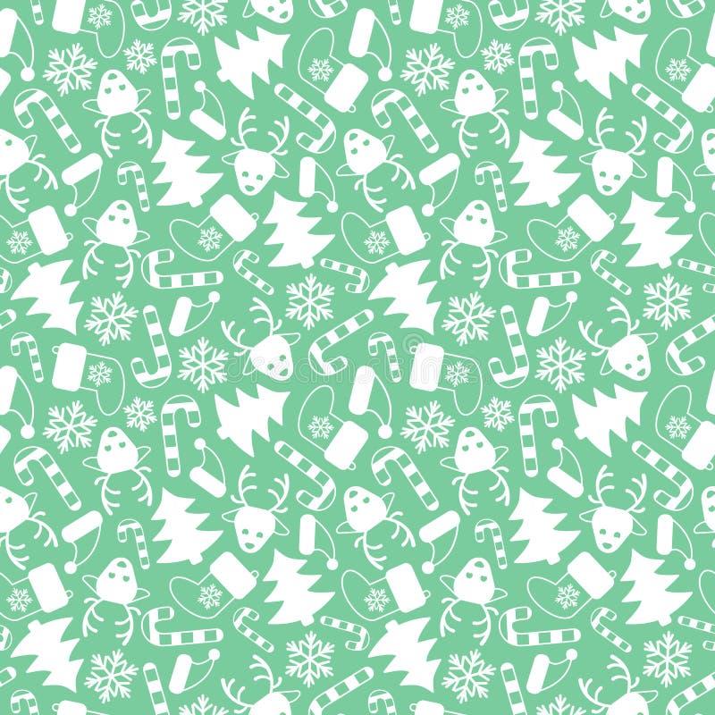 Modello senza cuciture di vettore semplice con gli elementi di Natale su fondo verde pastello royalty illustrazione gratis