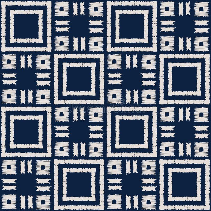 Modello senza cuciture di vettore di shibori astratto dell'indaco con la stampa del ikat del mosaico illustrazione vettoriale