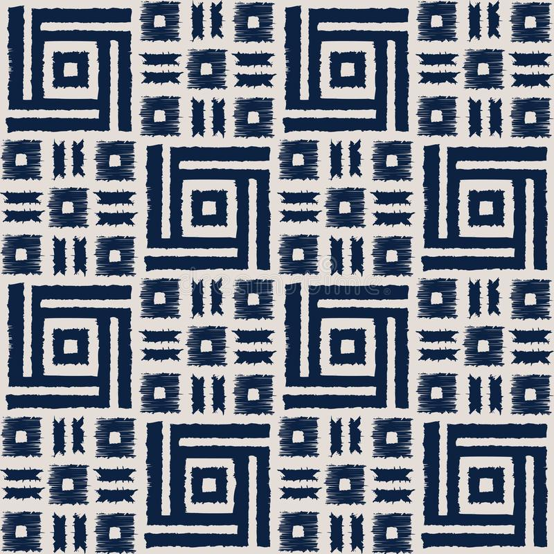 Modello senza cuciture di vettore di shibori astratto dell'indaco con la stampa del ikat del mosaico illustrazione di stock