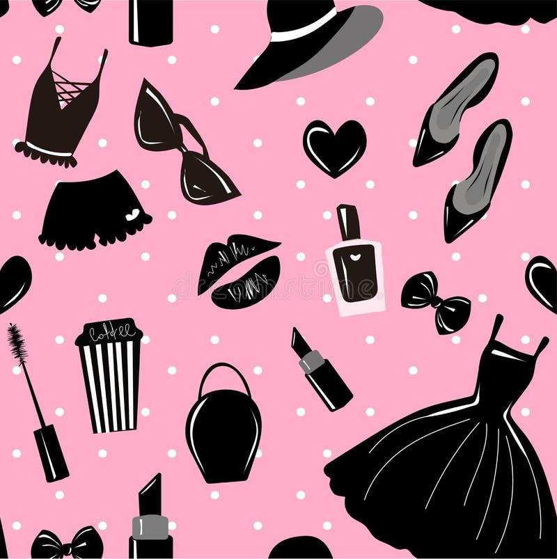 Modello senza cuciture di vettore, struttura, stampa con le ragazze accessorio alla moda, cosmetico, roba della donna sui precede royalty illustrazione gratis