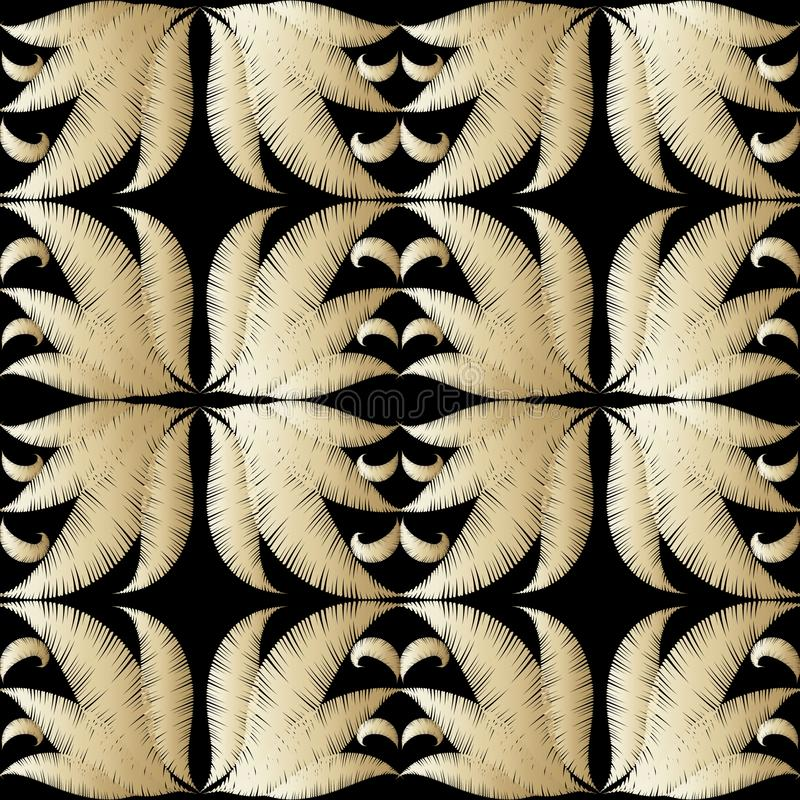 Modello senza cuciture di vettore strutturato floreale dell'oro 3d Fondo di superficie di lerciume del ricamo Fiori ricamati deco illustrazione di stock