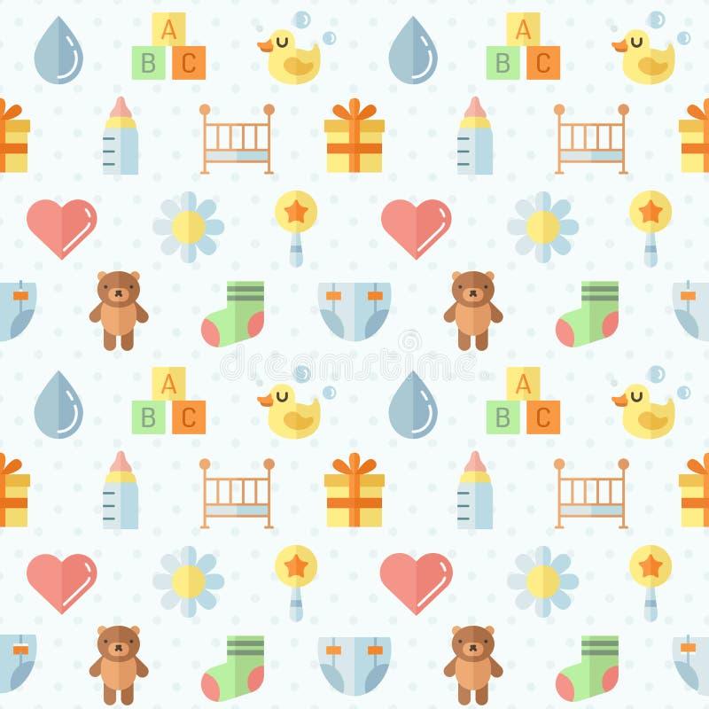 Modello senza cuciture di vettore sveglio pianamente multicolore della roba del bambino (ragazza e ragazzo) Progettazione di Mini illustrazione di stock