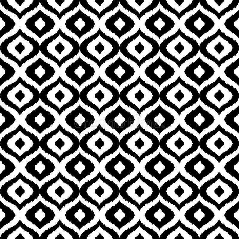 Modello senza cuciture di vettore tribale in bianco e nero Priorità bassa astratta disegnata a mano Progettazione classica del te illustrazione vettoriale
