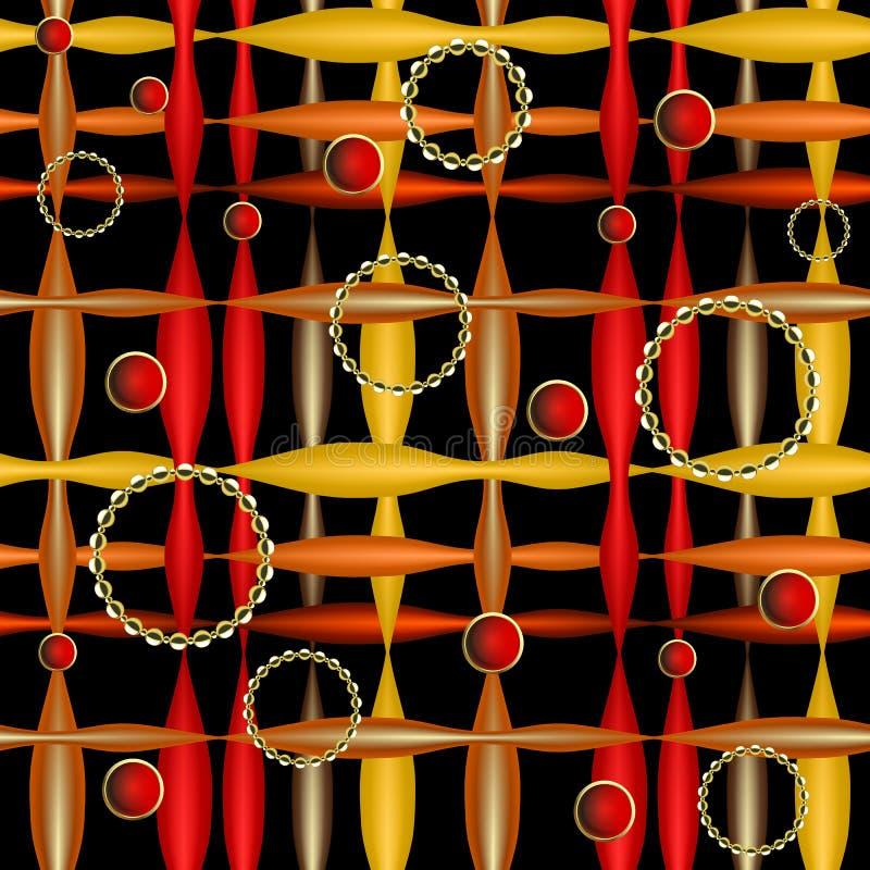 Modello senza cuciture di vettore variopinto astratto a strisce 3d Fondo moderno ornamentale geometrico Struttura senza fine di s illustrazione vettoriale