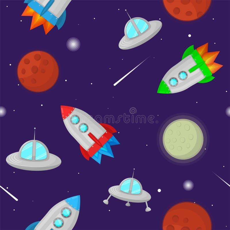 Modello senza cuciture di vettore variopinto dello spazio con i pianeti, le stelle, i razzi ed i dischi volanti illustrazione vettoriale