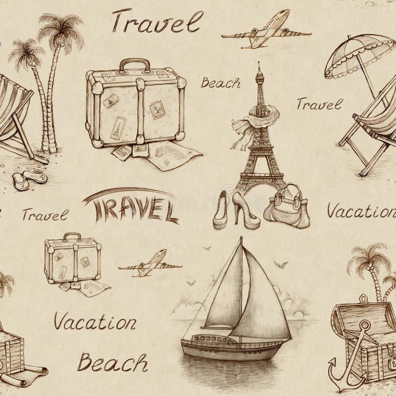 Modello senza cuciture di viaggio illustrazione di stock