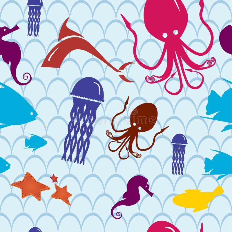 Modello senza cuciture di vita di mare, illustrazione di vita di mare per i bambini nello stile del fumetto immagine stock