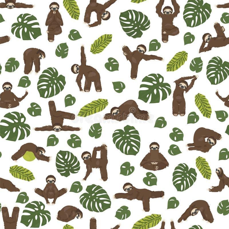 Modello senza cuciture di yoga di bradipo Animali divertenti del fumetto nelle posizioni differenti fissate illustrazione di stock