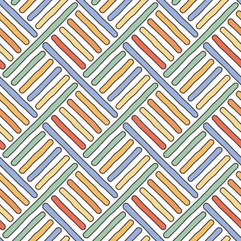 Modello senza cuciture diagonale di scarabocchio illustrazione vettoriale