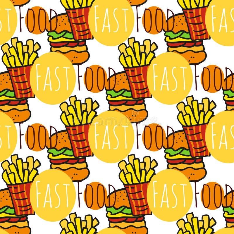 Download Modello Senza Cuciture Disegnato A Mano Con Alimenti A Rapida Preparazione Alimento Della Via Di Scarabocchio Fritture Patata E F Illustrazione Vettoriale - Illustrazione di cuisine, festival: 56881243