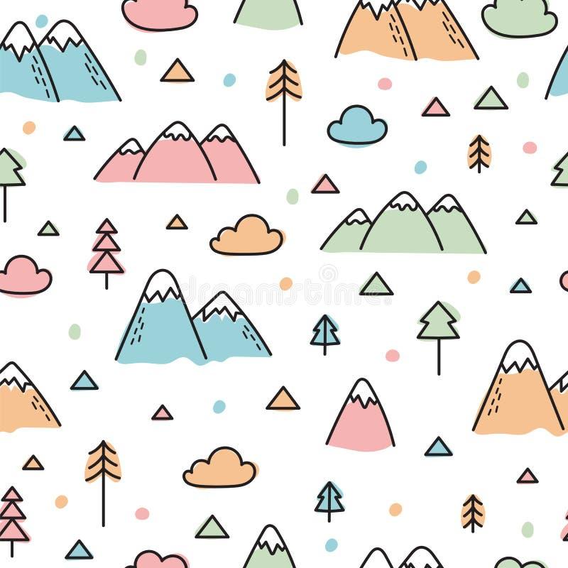 Modello senza cuciture disegnato a mano con gli alberi e le montagne Fondo scandinavo creativo del terreno boscoso Foresta royalty illustrazione gratis