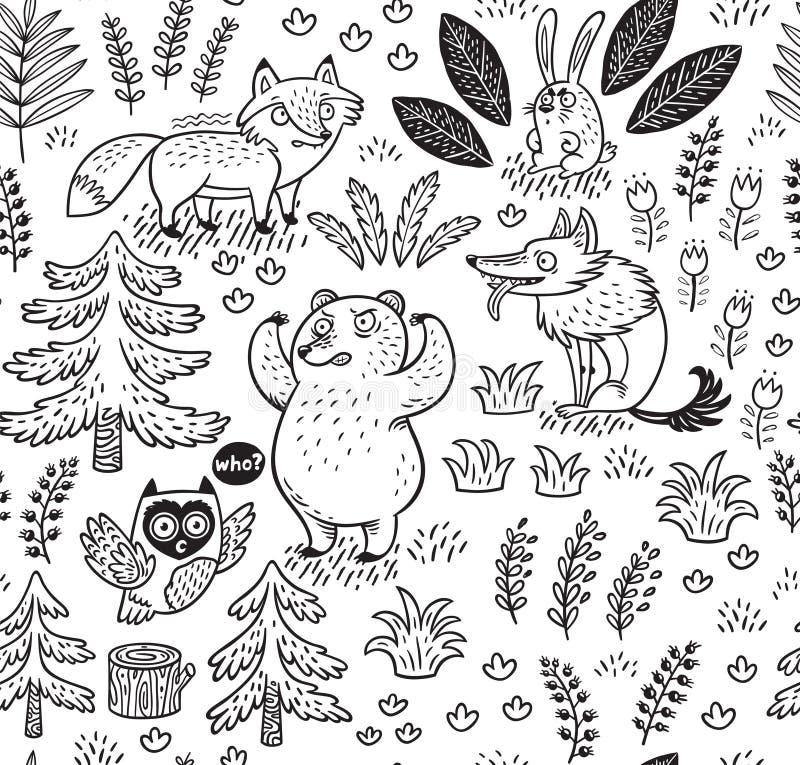Modello senza cuciture disegnato a mano con gli animali nel profilo illustrazione di stock