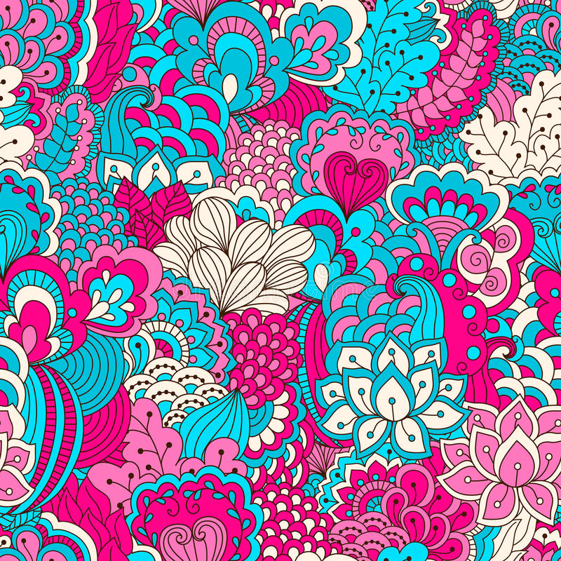 Modello senza cuciture disegnato a mano con gli elementi floreali royalty illustrazione gratis