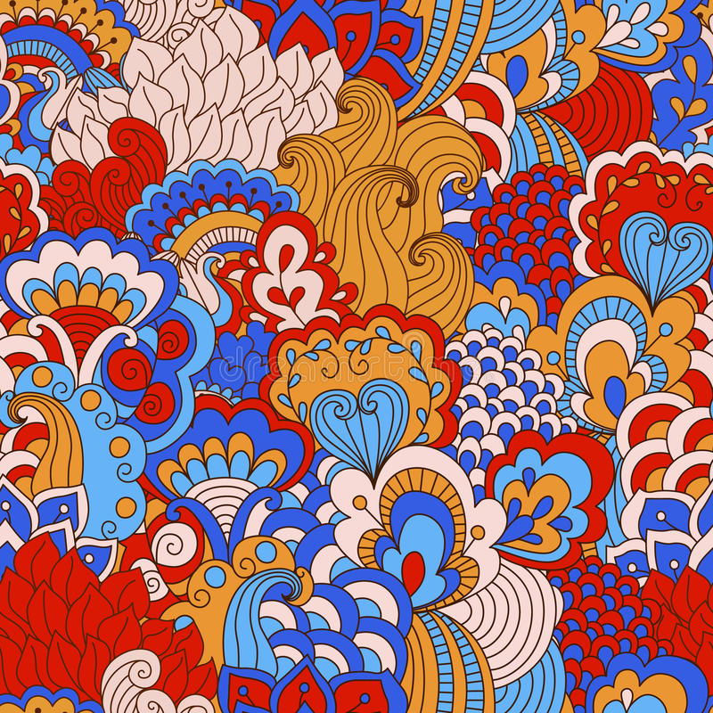 Modello senza cuciture disegnato a mano con gli elementi floreali illustrazione vettoriale