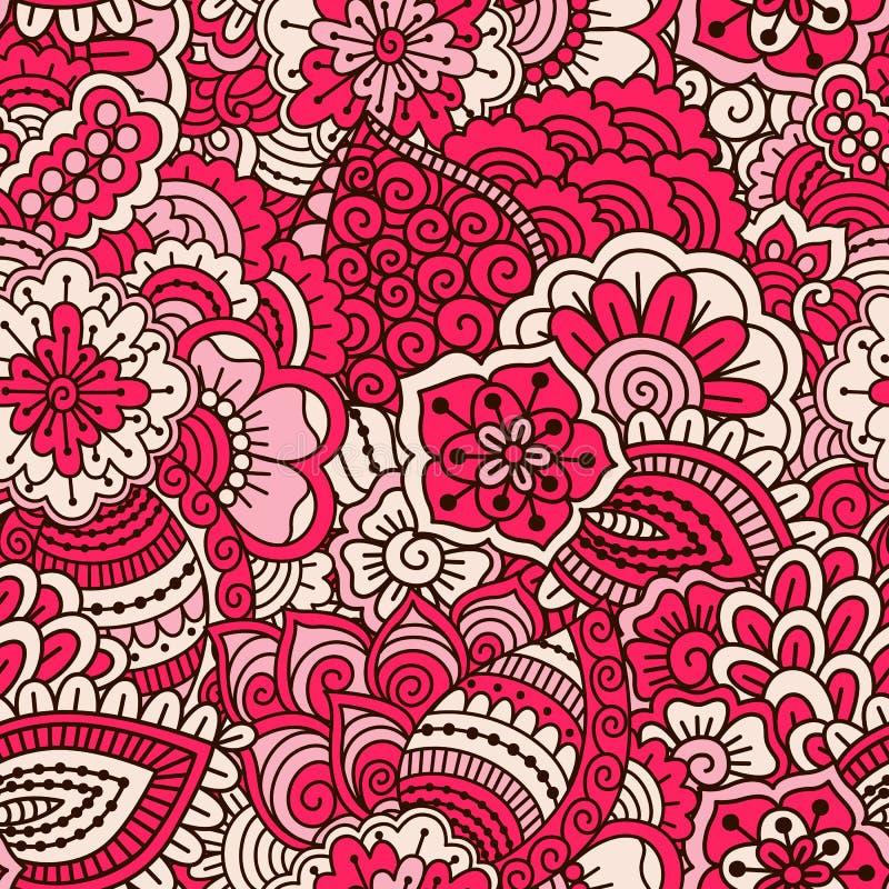 Modello senza cuciture disegnato a mano con gli elementi floreali illustrazione di stock