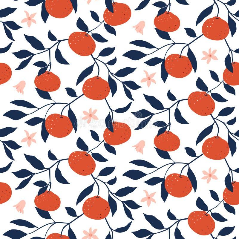 Modello senza cuciture disegnato a mano con i mandarini Carta da parati di vettore illustrazione vettoriale