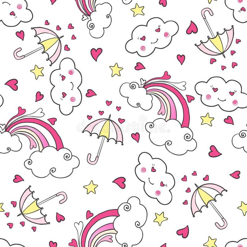 Modello senza cuciture disegnato a mano con l'arcobaleno, le nuvole, l'ombrello ed i cuori illustrazione di stock