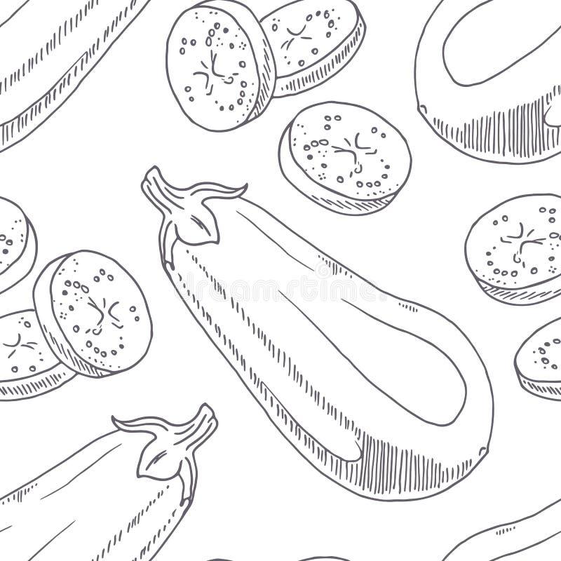 Modello senza cuciture disegnato a mano con melanzana Fondo monocromatico nello stile di schizzo illustrazione vettoriale