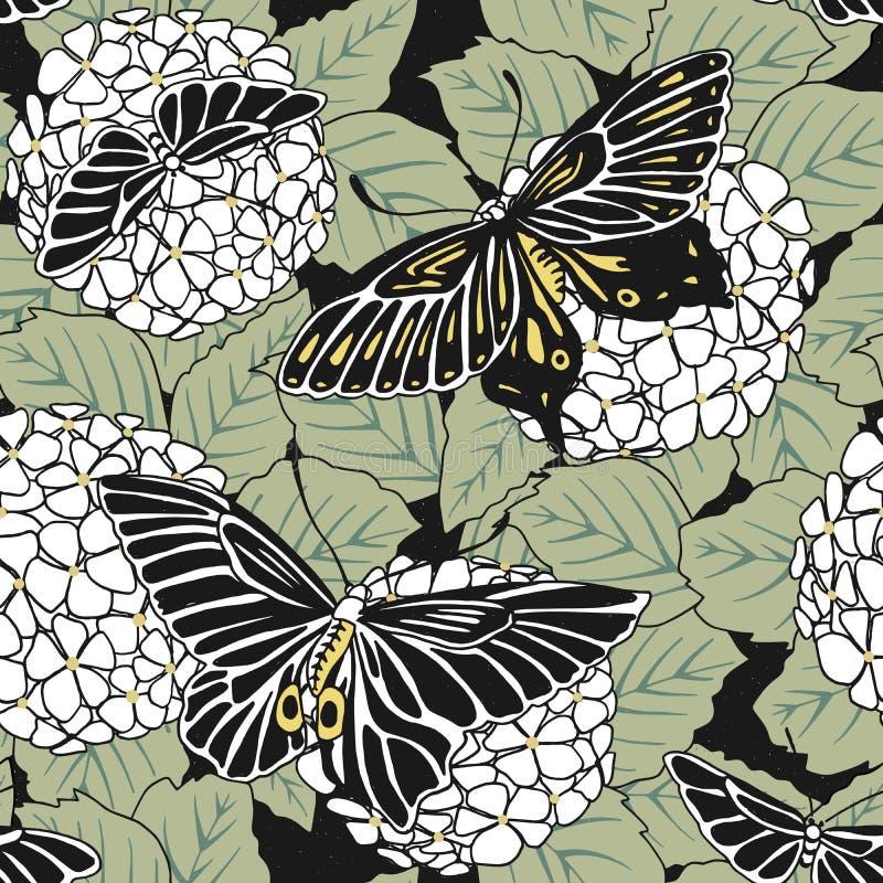 Modello senza cuciture disegnato a mano dei fiori e delle farfalle di hortensia illustrazione di stock