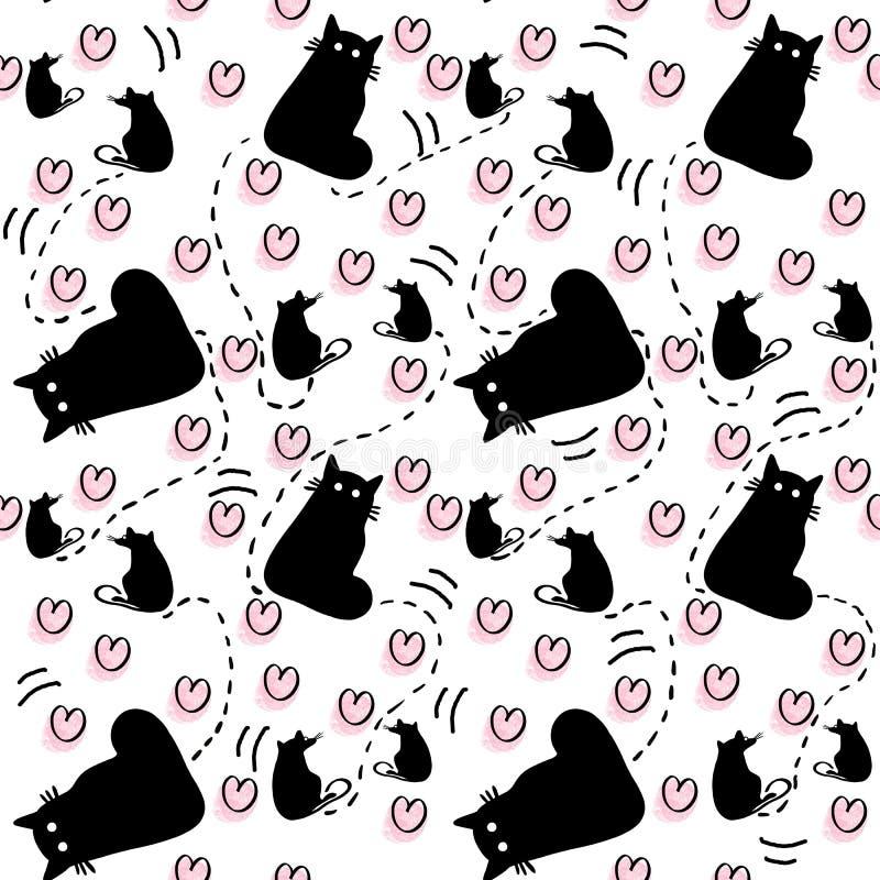 Modello senza cuciture disegnato a mano dei gatti della siluetta con i ratti e dei cuori rosa su fondo bianco royalty illustrazione gratis