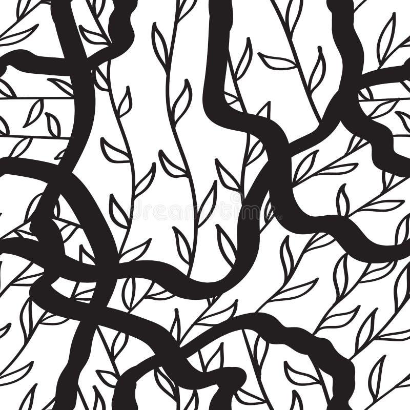 Modello senza cuciture disegnato a mano dell'inchiostro con le foglie del amd dei hrrbs Linee nere su bianco immagini stock