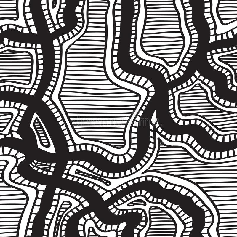Modello senza cuciture disegnato a mano dell'inchiostro Progettazione del tessuto Linee nere su bianco immagine stock