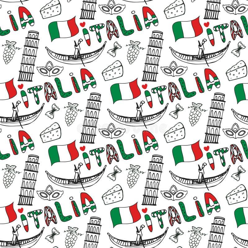 Modello senza cuciture disegnato a mano dell'Italia con la bandiera Fondo di viaggio di vettore Iscrizione dell'Italia in di ling illustrazione vettoriale