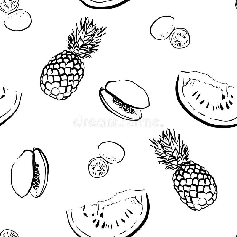 Modello senza cuciture disegnato a mano della frutta tropicale fotografie stock