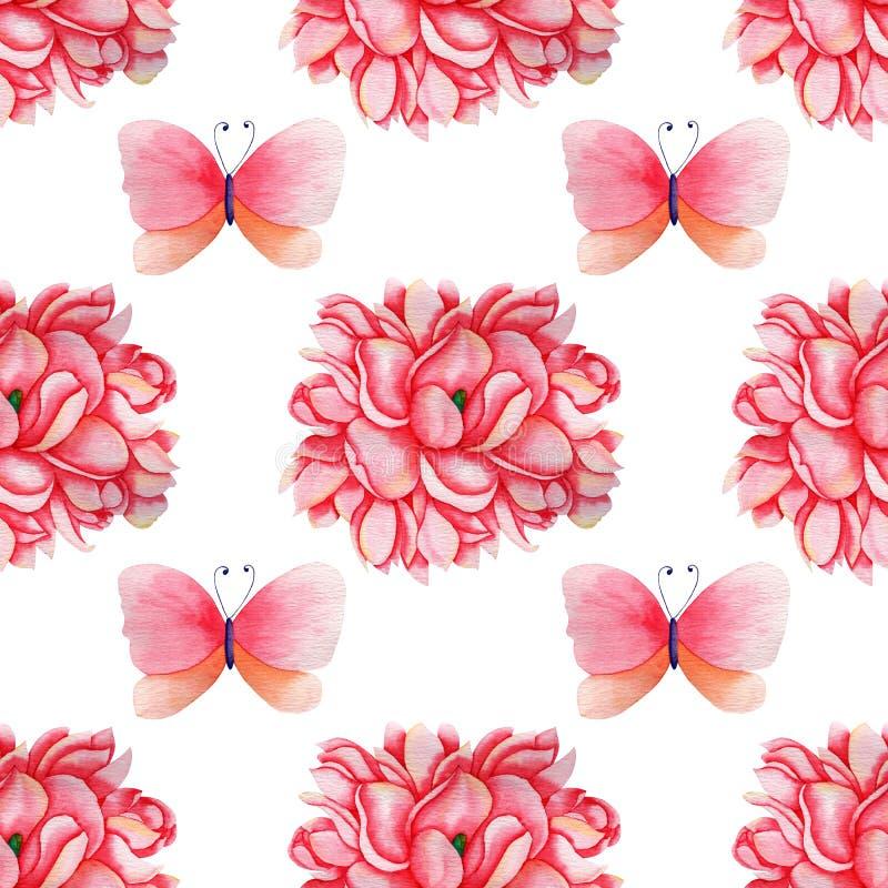 Modello senza cuciture disegnato a mano della magnolia e della farfalla dell'acquerello per la fabbricazione, la carta, il tessut illustrazione vettoriale